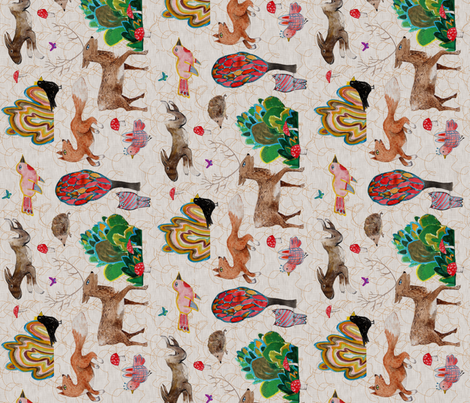 Naive Woodland (rotated) fabric by nouveau_bohemian on Spoonflower - custom fabric