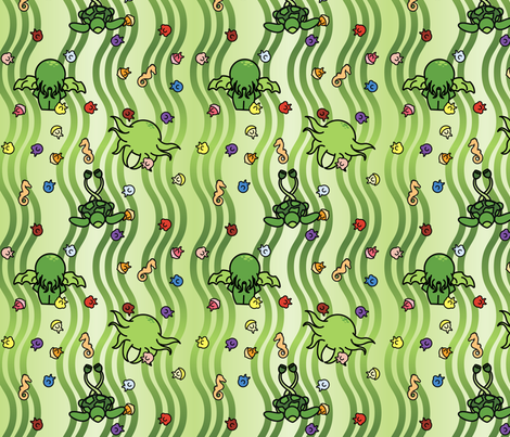 Chibi Cthulhu fabric by studiofibonacci on Spoonflower - custom fabric