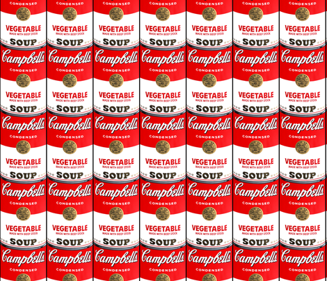 andy warhol campbell's vegetable can soup pop art fabric vintage retro fabric by raveneve on Spoonflower - custom fabric