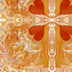 Cross with Red Hearts Abstract Design