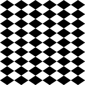 Large Harlequin Check in Black and White-ed