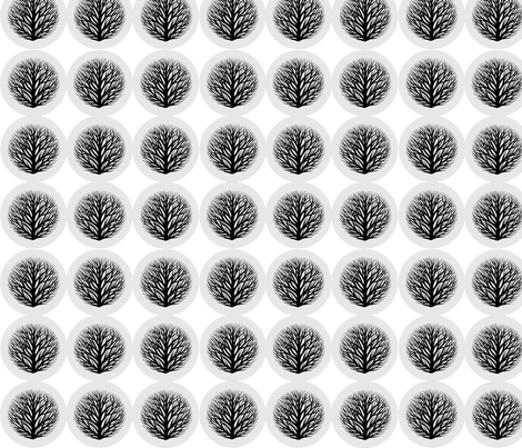 button branches B&W fabric by keweenawchris on Spoonflower - custom fabric
