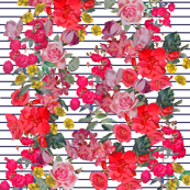 Antique Floral With Pinstripe Background