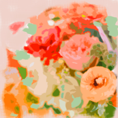 Floral Bouquet in Coral, Gold, and Peach