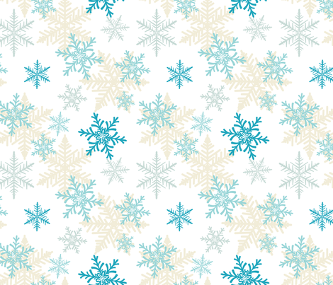 Blue Snowflake Pattern fabric by diane555 on Spoonflower - custom fabric