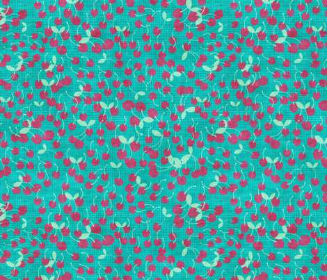 cherrries on teal fabric by kociara on Spoonflower - custom fabric