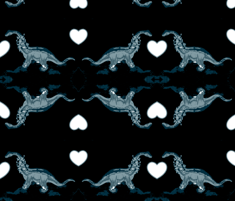 Jurassic Film Noir Romantic Encounter fabric by clotilda_warhammer on Spoonflower - custom fabric