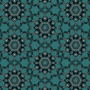 Silvery Medallion v3  on dull teal