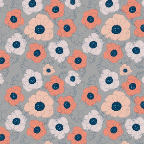 poppy spin (peach on gray)