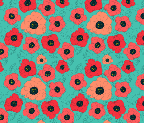 poppy spin (coral on sea foam) fabric by anna_lisa_brown on Spoonflower - custom fabric