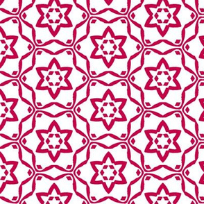 Star Flower   -Cherry Red and White