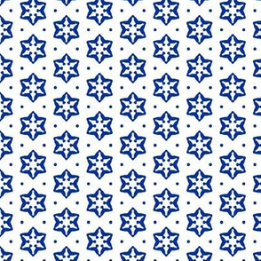 Snow Star 1   -Blue on White