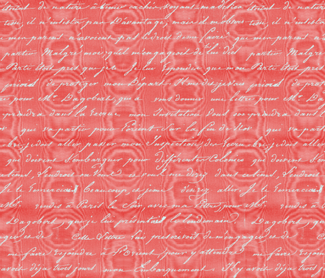Dangerous Liaisons ~ Cinnabar Moire with Silver Script fabric by peacoquettedesigns on Spoonflower - custom fabric