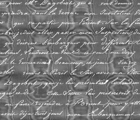 Dangerous Liaisons ~ Danceny Moire with Silver Script fabric by peacoquettedesigns on Spoonflower - custom fabric