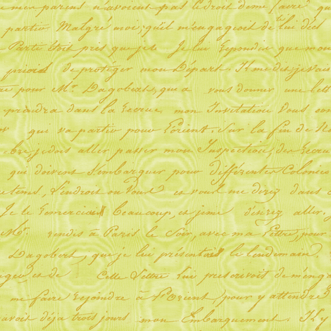 Dangerous Liaisons ~ Jade Moire with Gilt Script fabric by peacoquettedesigns on Spoonflower - custom fabric