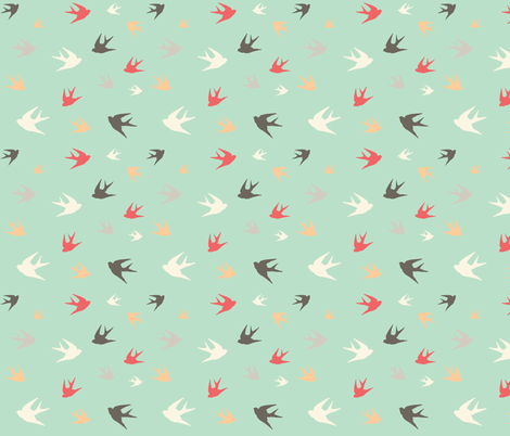 Sparrows in flight - coral / cream / beige / brown on aqua fabric by little_fish on Spoonflower - custom fabric