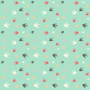 Sparrows in flight - coral / cream / beige / brown on aqua
