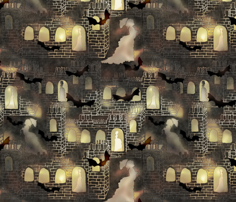 haunted castle fabric by kociara on Spoonflower - custom fabric