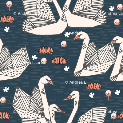Swans in the Lily Pond - Parisian Blue/Champagne by Andrea Lauren