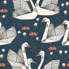 swans // lily pond swans geo dark blue navy blue swan bird girls sweet