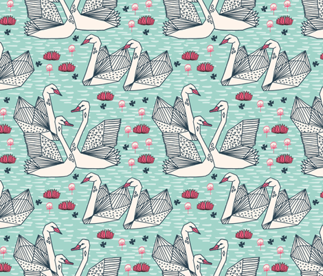swans // mint geometric swans pond lily pond water lily swans girls fabric by andrea_lauren on Spoonflower - custom fabric