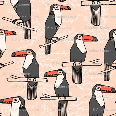 Toucan - Blush/Charcoal/Coral  by Andrea Lauren