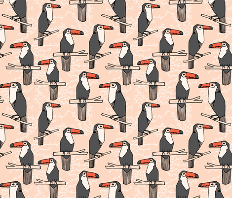 Toucan - Blush/Charcoal/Coral  by Andrea Lauren fabric by andrea_lauren on Spoonflower - custom fabric