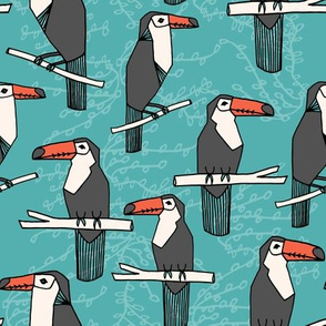 Toucans - Tiffany Blue/Charcoal/Coral  by Andrea Lauren