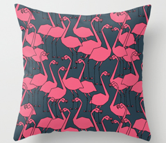 Flamingos - Parisian Blue/French Rose by Andrea Lauren
