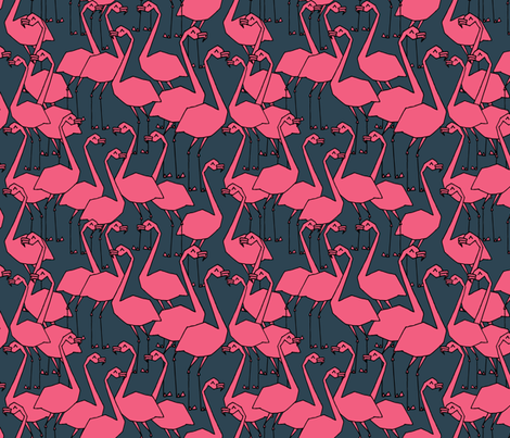 Flamingos - Parisian Blue/French Rose by Andrea Lauren fabric by andrea_lauren on Spoonflower - custom fabric