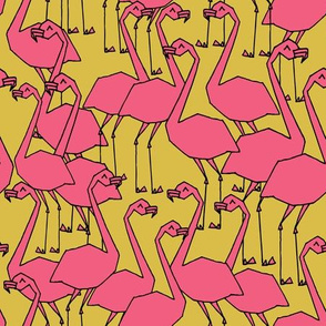 Flamingos - Mustard/French Rose  by Andrea Lauren
