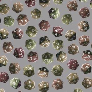 D20 gamer dice brown