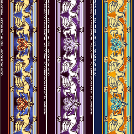 Celtic Angel Hound greyhounds  ©2012 by Jane Walker fabric by artbyjanewalker on Spoonflower - custom fabric