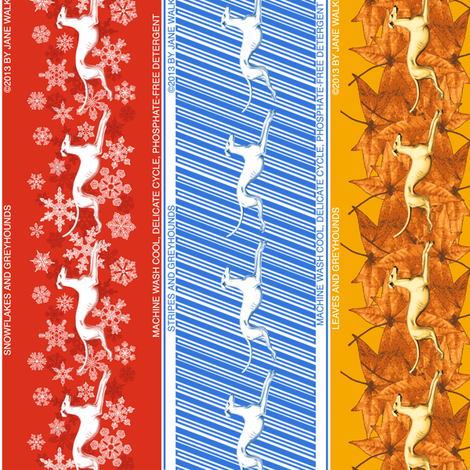 Seasonal Holiday Greyhounds ©2013 by Jane Walker fabric by artbyjanewalker on Spoonflower - custom fabric