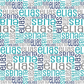 Personalised Name Fabric - Teal Grey Navy