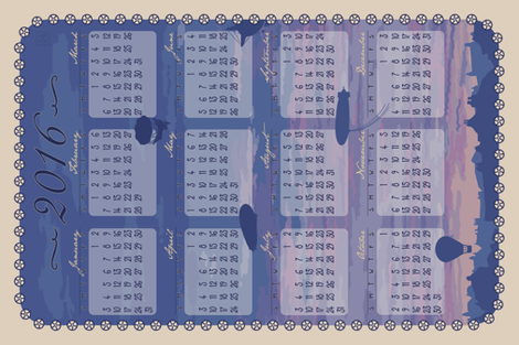 2016 Airship Skyline Calendar fabric by phantomssiren on Spoonflower - custom fabric