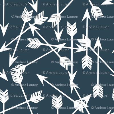 Arrows Scattered - Parisian Blue/White by Andrea Lauren