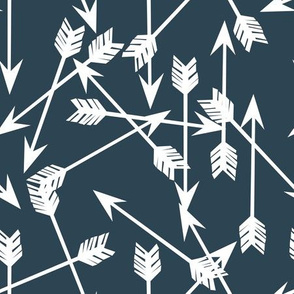 arrows scattered // dark blue gray blue boy nursery design