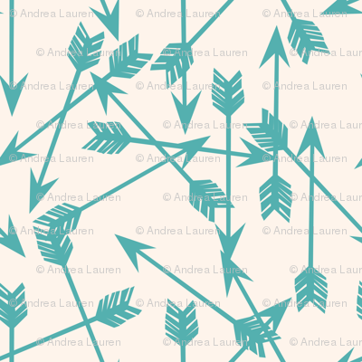 Arrows Scattered - Champagne/Tiffany Blue by Andrea Lauren