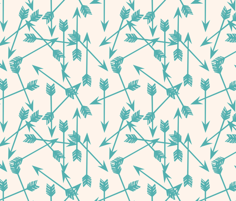 Arrows Scattered - Champagne/Tiffany Blue by Andrea Lauren fabric by andrea_lauren on Spoonflower - custom fabric
