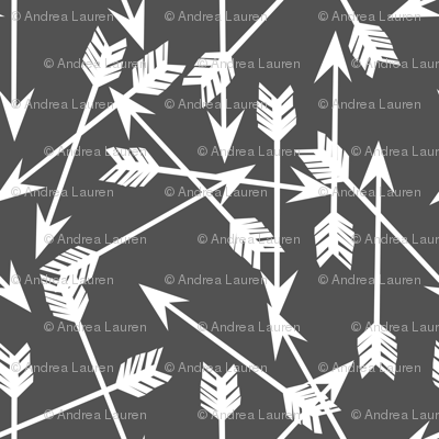 arrows scattered // grey charcoal and white kids room nursery outdoors print