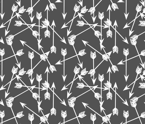 Arrows Scattered - Charcoal/White by Andrea Lauren