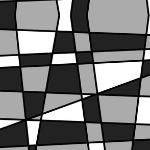 Large geometrics in black, white and grey