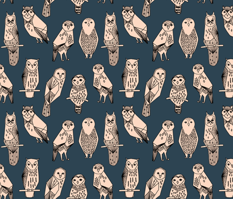 owl // blush and navy hand-drawn illustration bird owl by Andrea Lauren fabric by andrea_lauren on Spoonflower - custom fabric