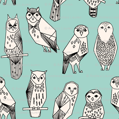 owl // hand-drawn bird illustration featuring hand-drawn illustration by Andrea Lauren mint and cream
