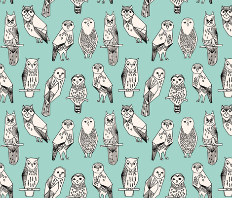 owl // hand-drawn bird illustration featuring hand-drawn illustration by Andrea Lauren mint and cream fabric by andrea_lauren on Spoonflower - custom fabric