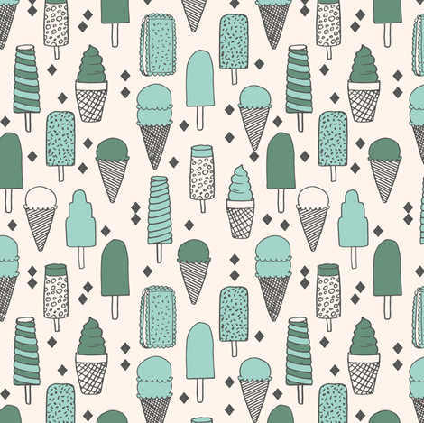 Ice Cream Varieties (Small Version) - Mints - Champagne/Viridian/Pale Turquoise by Andrea Lauren  fabric by andrea_lauren on Spoonflower - custom fabric