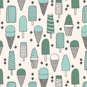Ice Cream Varieties (Small Version) - Mints - Champagne/Viridian/Pale Turquoise by Andrea Lauren