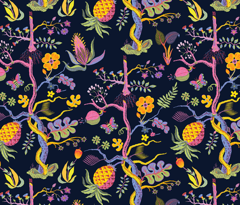PINEAPPLE fabric by llewmejia on Spoonflower - custom fabric