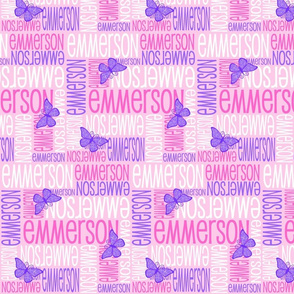 Personalised Name Fabric - Butterfly Pink and Purple